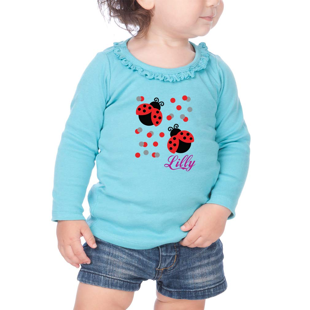 Personalized Cute Ladybugs Cotton Girl Toddler Long Sleeve Ruffle Shirt Top