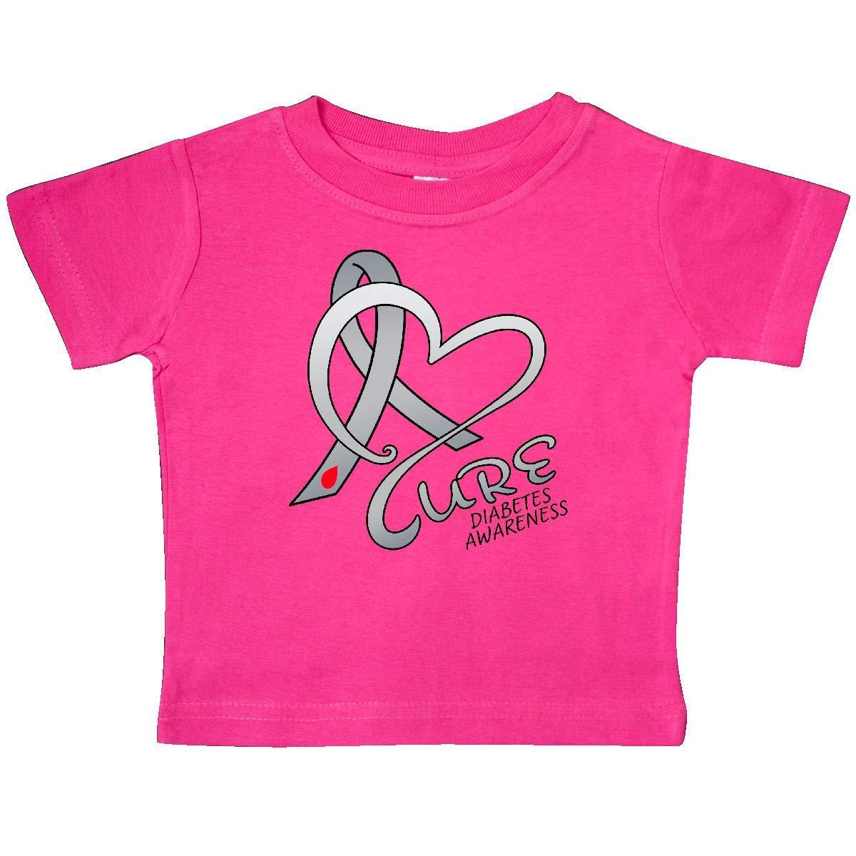 Diabetes Awareness Gray Ribbon Baby T-Shirt inktastic Cure