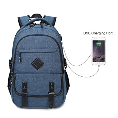 Laptop Backpack With USB Port AOLVO Waterproof Double Shoulder Bag for 15 Inch Laptop,Oxford Casual Daypack,Unisex School Backpack,Travel Business bag