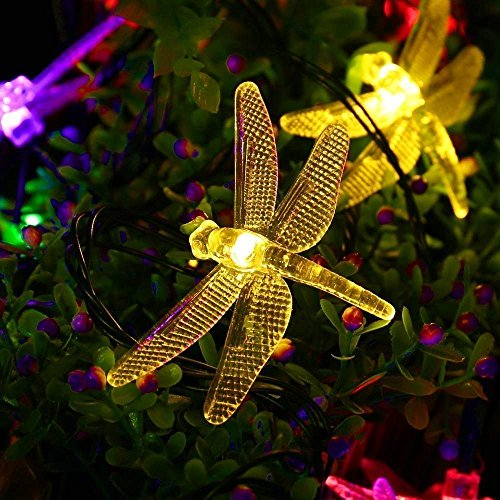 AMZSTAR Solar Powered String Lights,Waterproof 19.7ft 30LED Dragonfly Fairy Lights Decorative Lighting for Indoor/Outdoor Home Garden Lawn Fence Patio Party and Holiday Decorations (Multi-color) by AMZSTAR (Image #1)