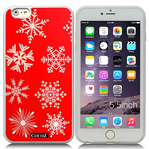 New Apple iPhone 6 s Plus 5.5-inch CocoZ® Case Beautiful Christmas Snow TUP Material Case (Red&Transparent TPU Snowflake 2)