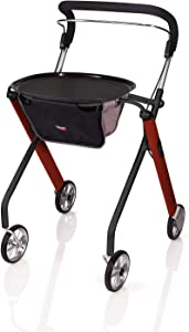 Stander Let's Go Indoor Rollator, Lightweight Four Wheel Euro Style Walker with Tray, Folding Mobility Aid for Seniors by Trust Care, Red