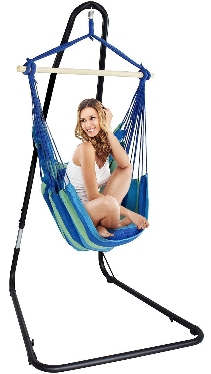 Sorbus Hanging Rope Hammock Chair Swing Seat Adjustable Multi-Use Stand Any Indoor Outdoor Spaces