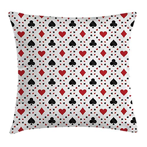 XGUPKL Casino Decorations Throw Pillow Cushion Cover, Poker Cards Advertising Holidays Getaways Tourist Destinations Art, Decorative Square Accent Pillow Case, 18 X 18 inches, Red and Black -