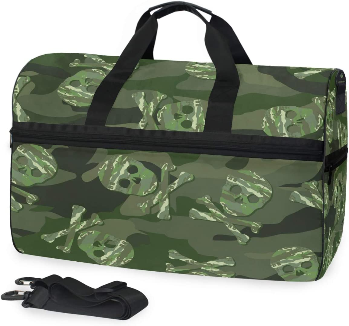 ALAZA Camouflage and Sugar Skull Sports Gym Duffel Bag Travel Luggage Handbag Shoulder Bag with Shoes Compartment for Men Women