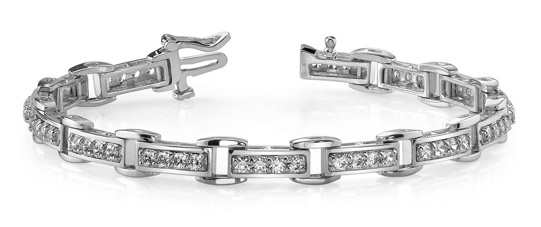 4.00 ct Ladies Round Cut Diamond Tennis Bracelet ( Color G Clarity SI-1) in 14 Kt White Gold
