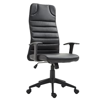 HOMCOM Ergonomic Desktop Computer Chair With Lumbar Support And Arms   Black