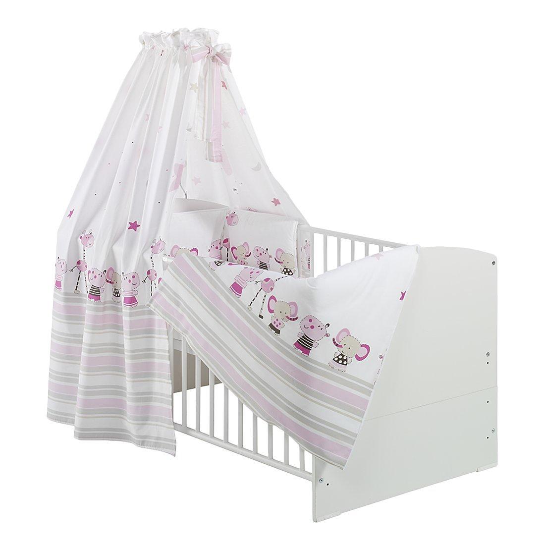 Schardt 4042219134684 Kinderbett Classic-Line mit Umbaukit, Bett-Set, Matratze und Himmelstange, 70 cm x 140 cm, Weiß