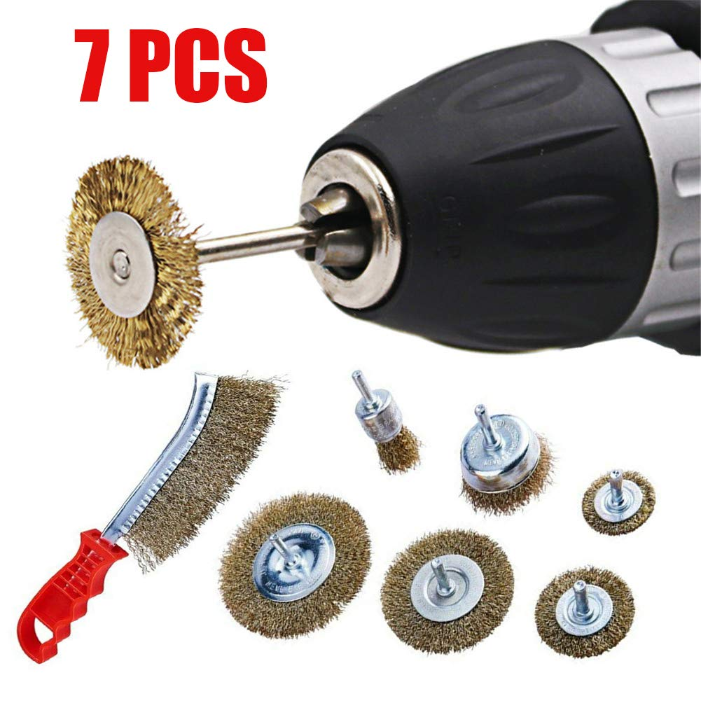 Juego de 7 cepillos de alambre para taladro y rueda de acero templado con cerdas de acero templado juego de cepillos de alambre para detalles CviAn