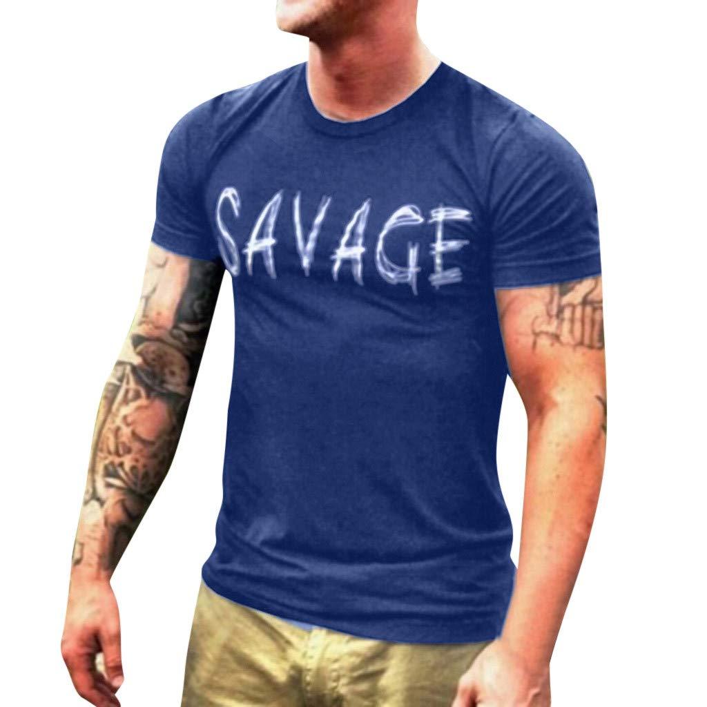 Men T-Shirt Short Sleeve Casual Fashion Shirt Letter Print Top Blouse (S, Navy)