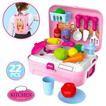 Candice\'s Sweety Girls Pretend Kitchen Food Playset 24 Pieces Kids Play  Kitchen Set Cooking Toys Fruit Vegetable Food with Mini Stove Top Dishes  for ...