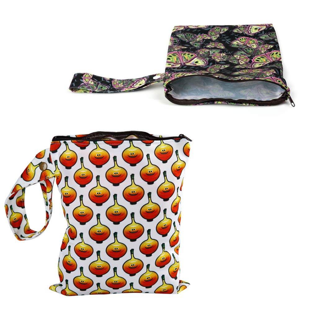 Color NO9 Simfamily 2 Pack Reusable Waterproof Cloth Diaper Wet Bag with Zipper