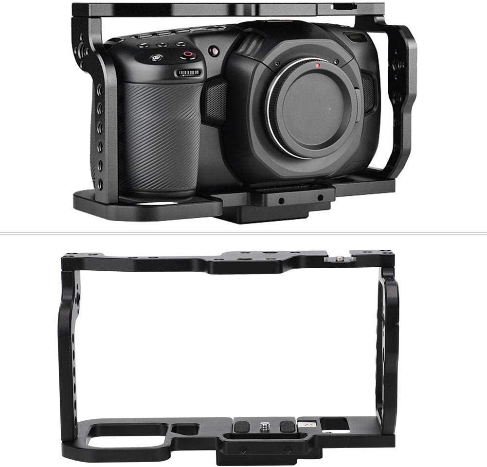 Aluminium Alloy Protective Case with 1//4 Hole Hot//Cold Shoe for BMPC 4K Camera Vbestlife Camera Metal Cage Protector