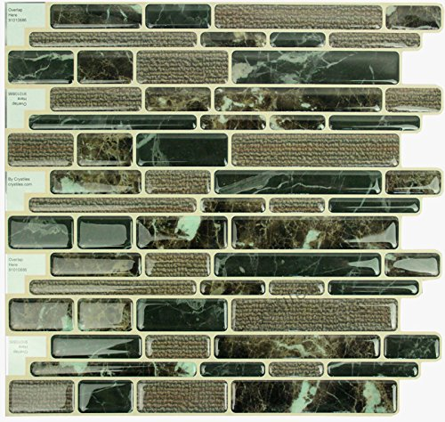 "Peel and Stick DIY backsplash Tile Stick-on Vinyl Wall Tile, Perfect backsplash idea for Kitchen and Bathroom décor Projects, Item #91010886, 10"" X 10"" Each, 6 Sheets Pack"