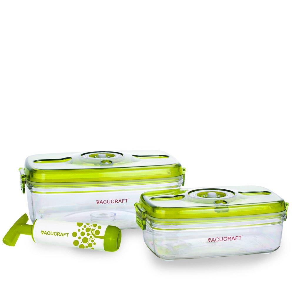 Vacucraft Airtight Food Storage Containers, 3 Pack, BPA Free Plastic, with Lids and Pump