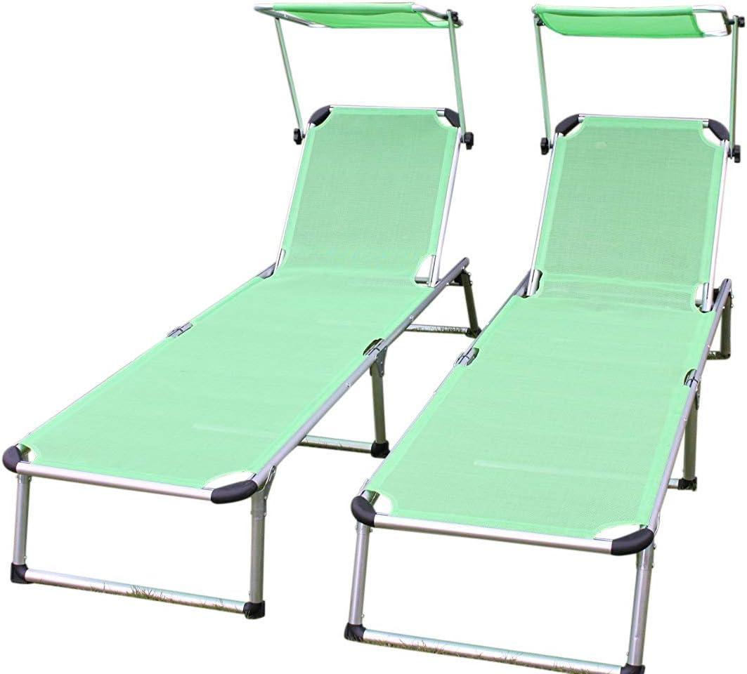 PACK DE 2 tumbonas de aluminio de jardín plegables en textileno verde lima con quitasol: Amazon.es: Jardín