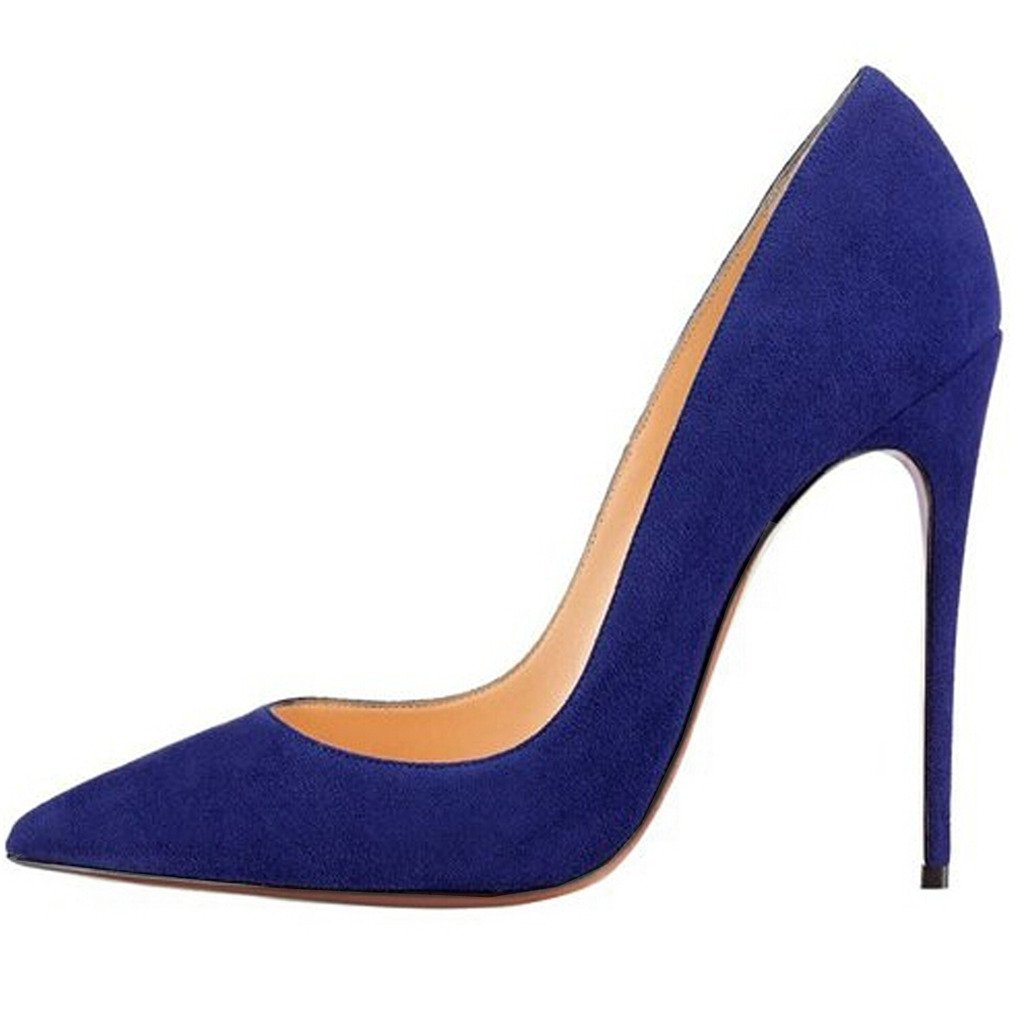 Jushee Damen Sexy Klassische Schwarz Stiletto High Heels Kleid Buuml;ro Pumps45 EU/12 UK/14 US|blau wildleder