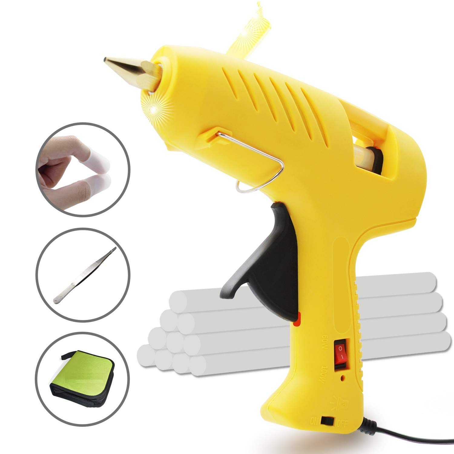 Hot Glue Gun with LED Light, Full Size with Dual Power, High Temperature, Heavy Duty, Melt Glue Gun Kit with Carry Bag, 10pcs Glue Sticks, 60/100W for DIY, Decoration, Crafts, Home Repair and more. Un