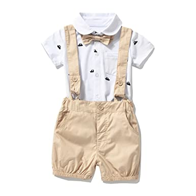 f32ce1be9 Amazon.com: FERENYI US Baby Boys Bowtie Gentleman Romper Jumpsuit Overalls  Rompers (0-6 Months, Khaki): Clothing