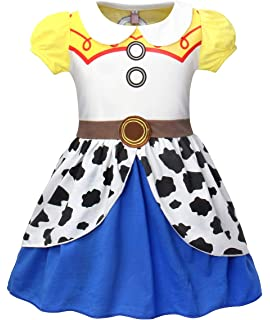 Cotrio Little Girls Jessie Dress Up Outfit Halloween Costume Party Dresses Short Long Sleeve