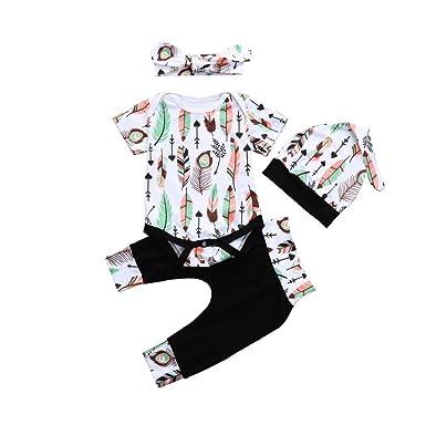 51471641fee3 Amazon.com  Yamally 9R 4Pcs Outfits Set Baby Boys Girls Pattern Print  Rompers Jumpsuit Pants+Free Hat+Headband White  Clothing