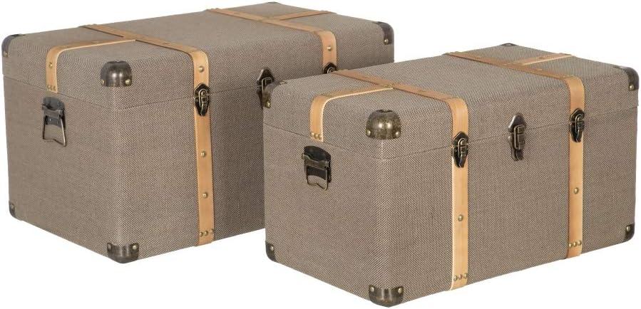 LOLAhome Set di 2 bauli da Viaggio Vintage in Tessuto e MDF Tortora