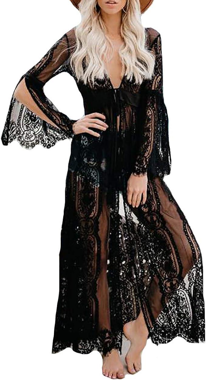 Womens Bikini Cover Up Cardigan Beach Long Maxi Dress Sarong Kimono Kaftan Dress