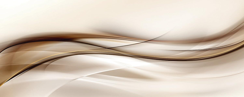 Artland Qualitätsbilder I Glasbilder Deko Glas Bilder 125 x 50 cm Abstrakte Motive Muster Streifen Digitale Kunst Braun D3HQ Welle Design Hintergrund