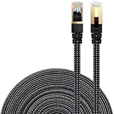 Cat 7 Ethernet Cable, DanYee Nylon Braided 33ft CAT7 High Speed Professional Gold Plated Plug STP Wires CAT 7 RJ45 Ethernet Cable 3ft 10ft 16ft 26ft 33ft 50ft 66ft 100ft(Black 33ft)
