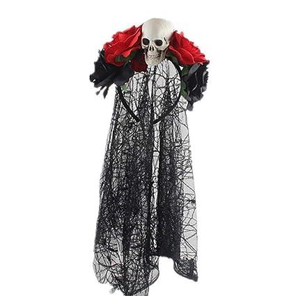 Esden - Diadema con diseño de calavera y rosas artificiales para ...