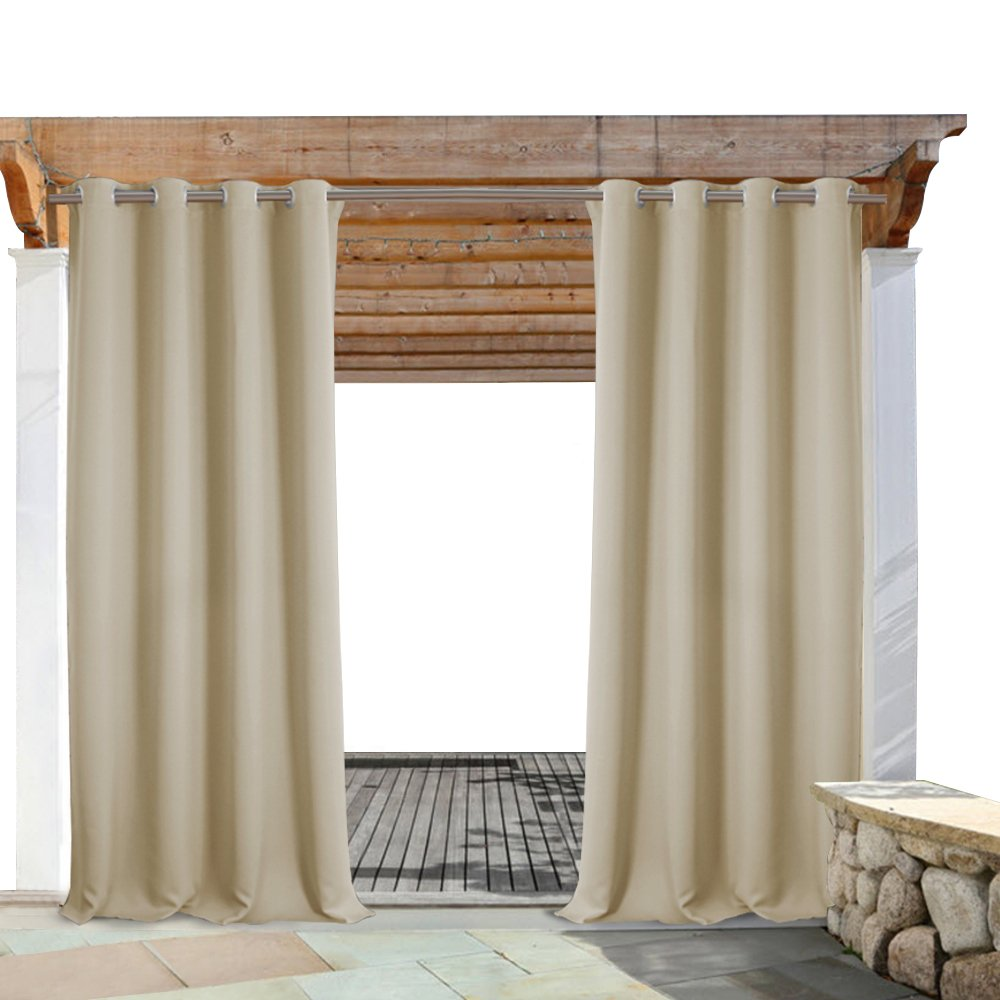 PONY DANCE Outdoor Curtain Drapes - Thermal Insulated Blackout Curtains with Grommets Fabric Waterproof Heavy-duty for Porch, 52'' Wide by 84'' Long, Beige, Sold as 1 Panel