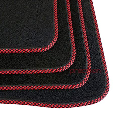 ṾOLKSWAGEN ṾW POLO 2009-2017 Fitted Tailored Black Classic Carpet Car Mats with Silver Twist SSSA8ST