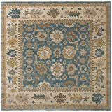 """Ecarpetgallery Hand-knotted Royal Ushak Open Field 8'3"""" x 8'1"""" Blue 100% Wool area rug"""