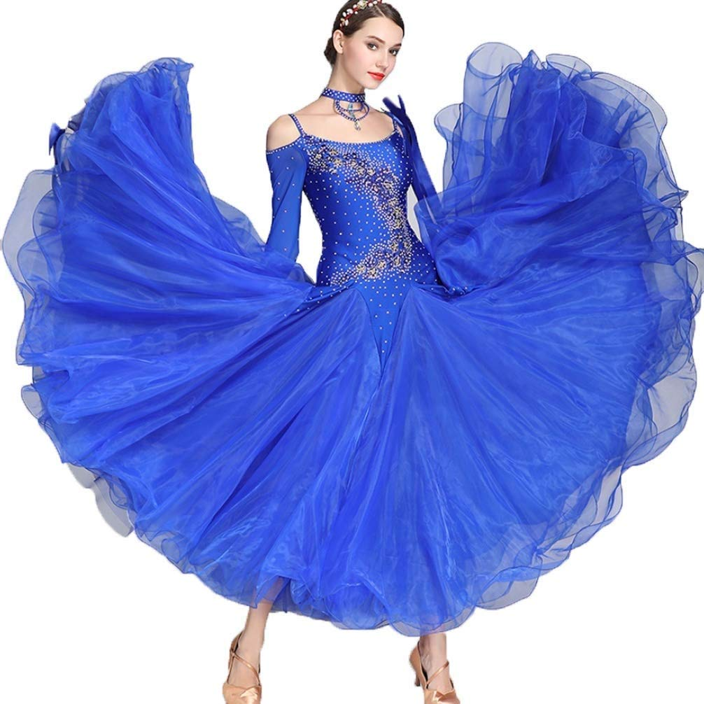 独創的 大人の女の子Waltzモダンダンスコンペティションドレス国家標準社交公演長袖ドレスタンゴラインストーンコスチューム、もっと色 B07Q3DL44J s S s|ブルー s|ブルー ブルー S S s, Crouka/クローカ:48d6568d --- a0267596.xsph.ru