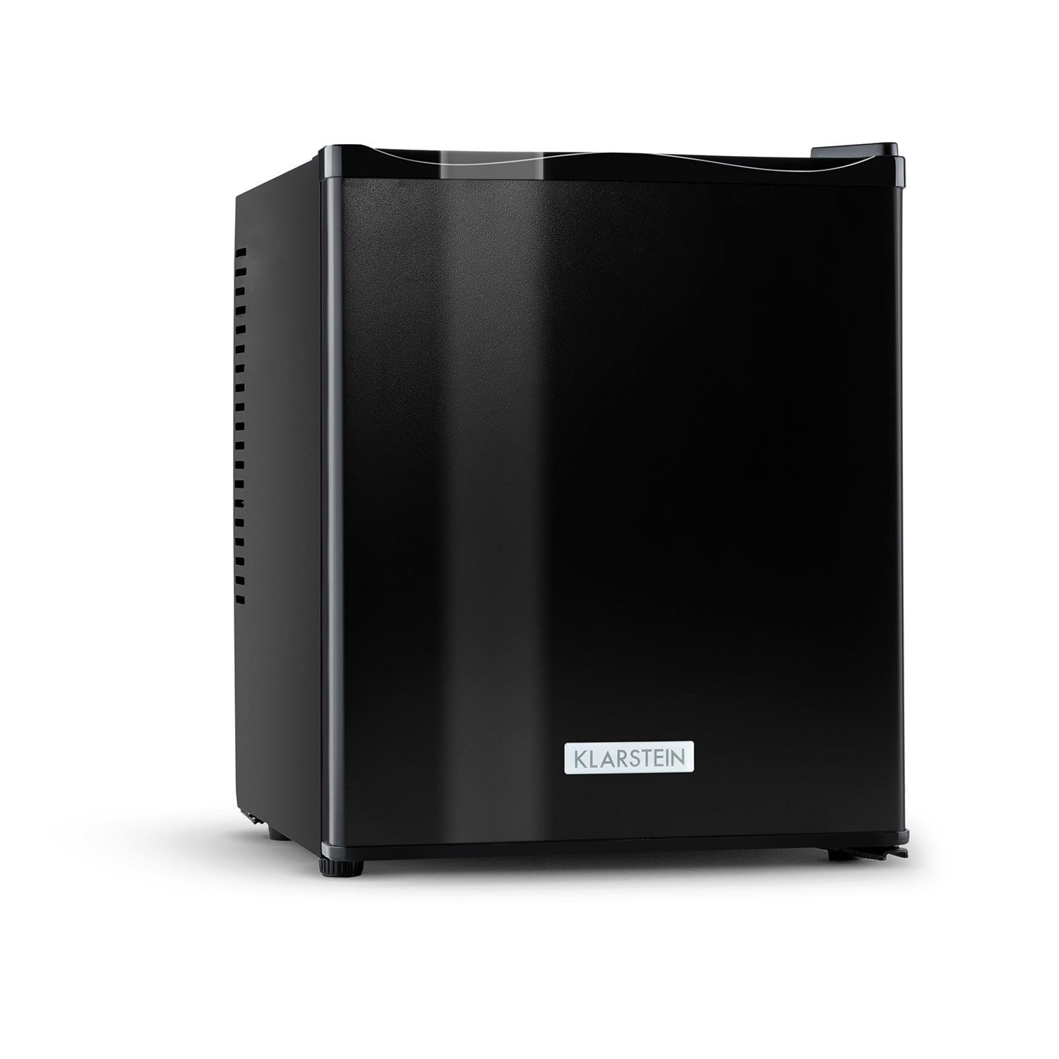 Klarstein MKS-11 Mini Bar Fridge • Cooler • Refrigerator • Ultra-Compact Dimensions • Ideal for Commercial Use in Hotels Hostels and Bars or Living Rooms and Gardens • 25 Litres • 2 Shelves • 2 Side Panels for Bottles and Cans • Black [Energy Class B] 100