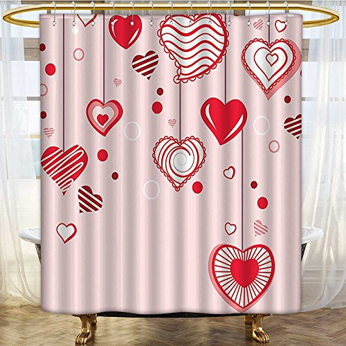 Mikihome Shower Curtains Sets Bathroom Contour Hearts Hanging On Strings Romantic Anniversary Celebration Satin Fabric Sets Bathroom W36 x H72 inch ()
