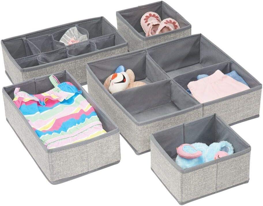 12 organizadores de armarios de fibra sint/ética en dos tama/ños etc mDesign Juego de 12 cajas de almacenaje para habitaci/ón infantil Cestas organizadoras de lunares rosa//blanco ba/ño
