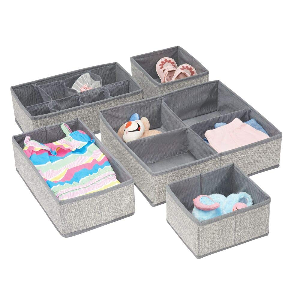 mDesign Soft Fabric Dresser Drawer and Closet Storage Organizer Set for Child/Baby Room or Nursery - Large Set of 5 Organizers, Textured Print - Gray by mDesign