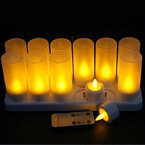 Luz recargable de la vela, Un conjunto de 12 LED de luz de té sin llama Con la estación de carga, Para Festivales Bodas Confesión Romántica Decoración ...