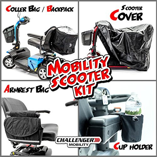 (Scooter Accessory Package - Challenger X-Large Scooter Cover, Cooler Bag, Armrest Bag, Cup Holder )