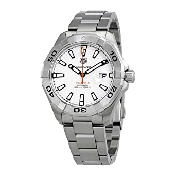 b0c7faced9a0 Image Unavailable. Image not available for. Color: Tag Heuer Aquaracer  White Dial Automatic Mens Stainless Steel Watch ...