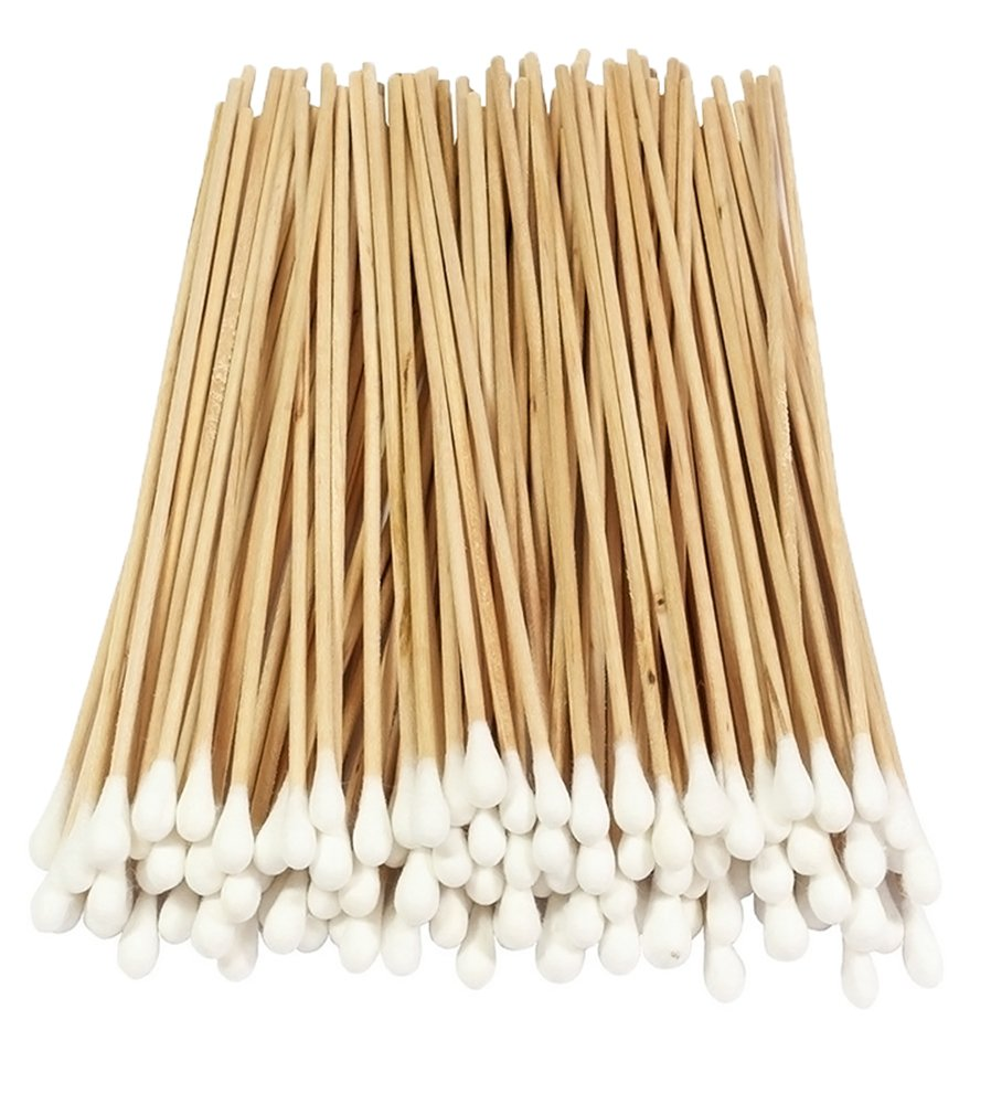 100 Pcs Cotton Swab, Long Wood Handle Cotton Tip Swab Cotton Buds Precision Cotton Tipped Applicator for Makeup, Cleaning, Polishing Jewelry, Arts and Crafts