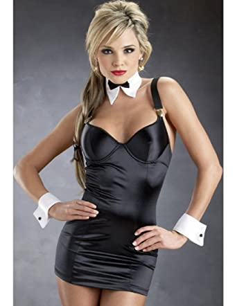 Amazon Escante Satin Lycra Dress With Cuffs Blackwhite Small