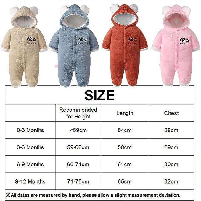 Baby Strampler Winter Outfits Mit Kapuze Schneeanzug Jungen M/ädchen Overall Lange /Ärmel Babykleidung Pyjama Spielanzug Geschenk 0-12 Monate