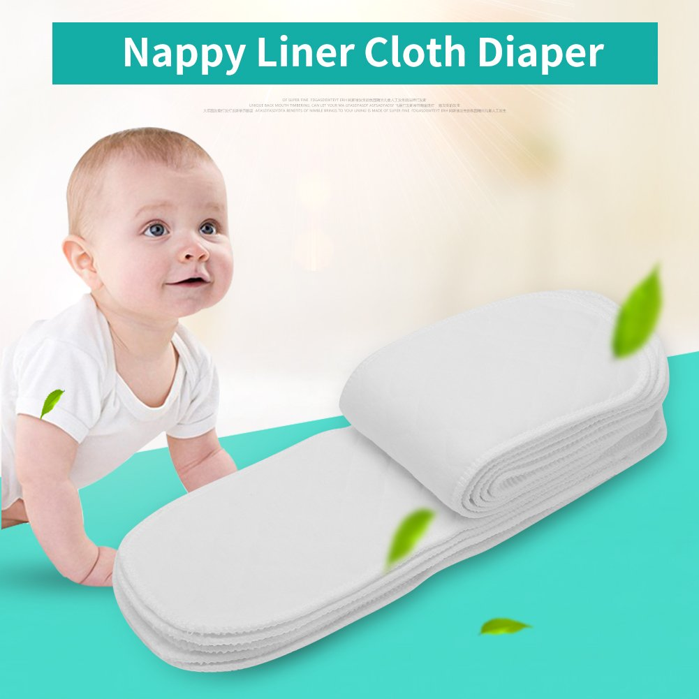 10pcs Cotton Cloth Diapers Washable Reusable Nappy High Absorbency Soft and Safe Liners Insert on All Skins Perfect for Newborns Babies Toddlers New Mothers Insert 6 Layers
