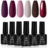 Beetles Gel Nail Polish Set, Berry Merlot Series 6 Colors Nail Art Kit, Soak Off Nail Gel Kit
