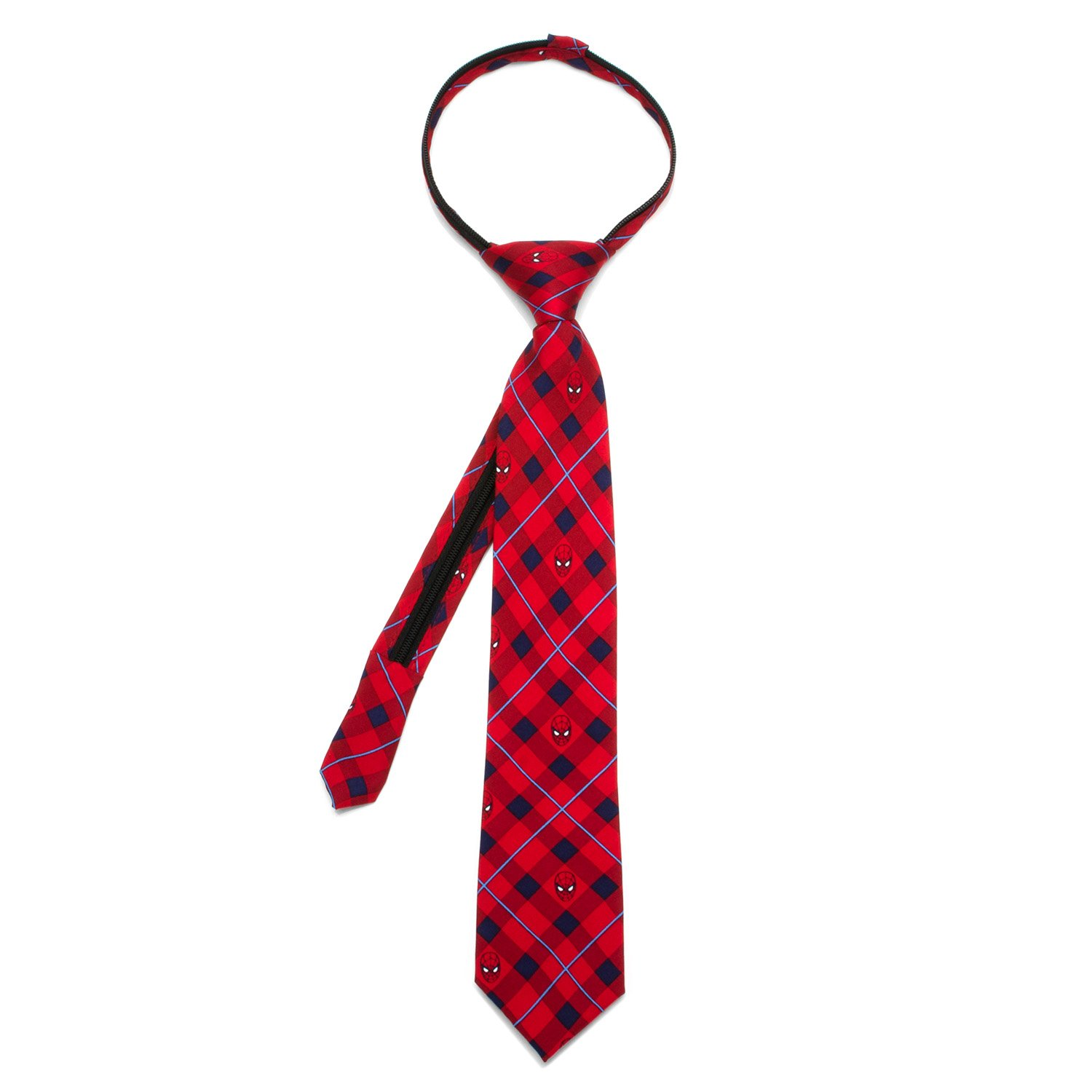 Spider-Man Red Plaid Boys' Zipper Silk Tie Cufflinks Inc. MV-SPPLD-RD-KT
