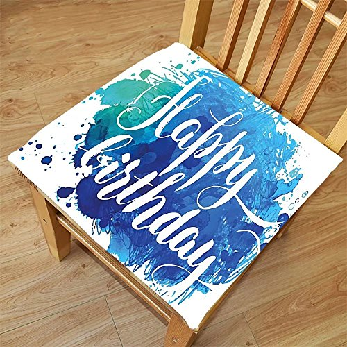Nalahome Set of 2 Waterproof Cozy Seat Protector Cushion Birthday Decorations Watercolor Greeting Card Inspired Display with Text Brushstrokes Blue Green White Printing Size 22x22inch (Watercolor Display)