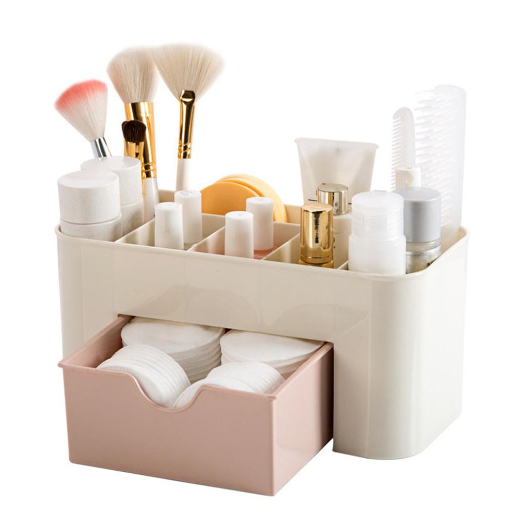 Makeup Organizer with Drawer, Inkach Comestics Storage Boxes Saving Space for Counter Countertop (Pink)
