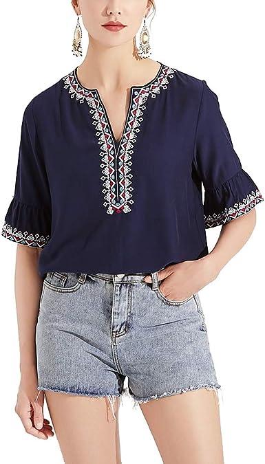 AK blusa tipo túnica de algodón bohemio mexicano bordada para ...